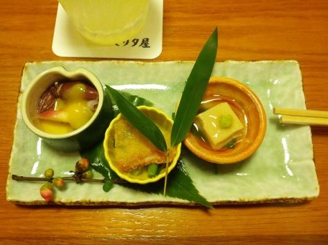 v.l.n.r.: kleiner Tintenfisch, hab ich nicht angerührt; irgendwas Gemüsiges; und Tofu (schwer mit Stäbchen zu essen, weil man ihn immer gleich zerteilt, anstatt ihn hochzuhalten)