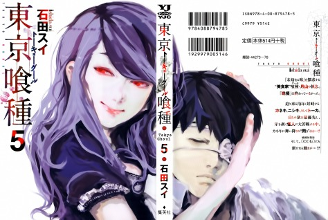 Rize und Kaneki auf dem Cover des fünften Mangabandes